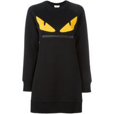 Fendi Bag Bugs sweatshirt dress ($710) ❤ liked on Polyvore featuring dresses, black, fendi dress, fendi, long sleeve dress, short dresses and long sleeve sweatshirt dress