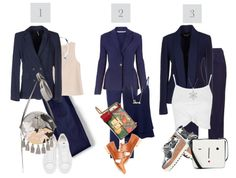 3 casual outfits con tu traje azul marino. blue woman suit casual style!