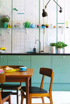 "urbanspacedesign: "" interior-design-home: ""sfgirlbybay-green-cabinets-kitchen Interior Design Home "" urbanspacedesign "" Eep! Look at all the color in this space! It's all so gorgeous! Those textured. Green Kitchen Cabinets, Kitchen Colors, New Kitchen, Kitchen Dining, Kitchen Decor, Teal Cabinets, Kitchen White, Kitchen Tiles, Quirky Kitchen"