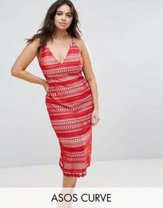 ASOS CURVE Lace Hitchcock Cami Midi Pencil Dress