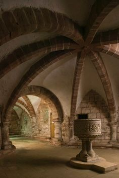 The 12th century Crypt in St John the Baptist church in Berkswell, West Midlands, England