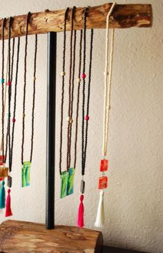 DIY Portable Jewelry Display | Portable Wooden Necklace Stand Rustic Jewelry by Nature Bound