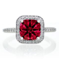 1.5 Carat Princess Cut Ruby Classic Halo Engagement Ring on 10k White Gold