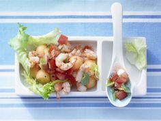 Eskariol-Melonen-Salat mit Tomaten-Minz-Salsa und Garnelen: sommerlich und besonders fettarm, aber einfach köstlich und ganz schnell fertig.