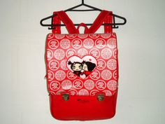 "Rare South Korean Cartoon ""PUCCA"" Club Kid Raver Novelty Red Vinyl Vegan Leather Backpack on Etsy, $40.00"
