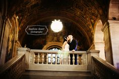 Stunning photo of couple in Detroit Public Library.  Pre-wedding shoot idea.
