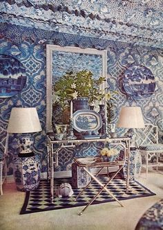Timeless Blue and White | Oscar de la Renta's home - 1969 Blue and white Chinese garden stools, Chinese Chippendale chairs, blue and white