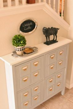 Add thin wood tiles to the HEMNES shoe cabinet to make it look like a card catalog organizer