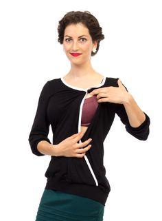 Chic nursing blouse for easy breastfeeding.