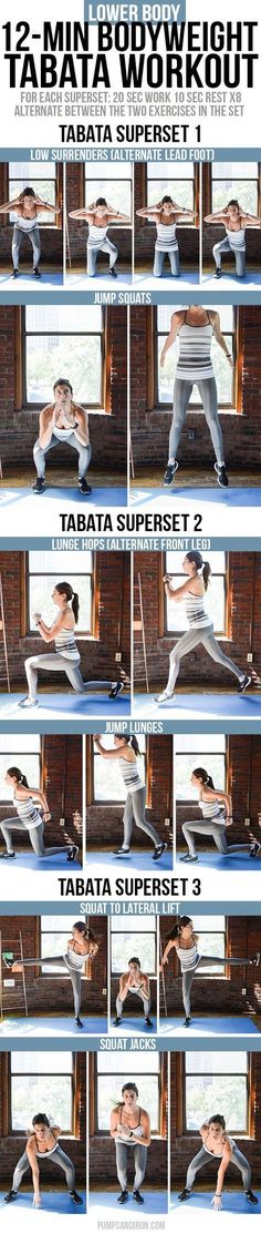 Bodyweight Tabata Workout Series: Lower Body (Legs & Glutes Bodyweight Tabata Workout for Legs & Butt -- this workout is broken up into three tabata supersetsLower class Lower class may refer to: Lower Ab Workouts, Tabata Workouts, Easy Workouts, At Home Workouts, Fitness Tips, Fitness Motivation, Health Fitness, Health Diet, Hair Health
