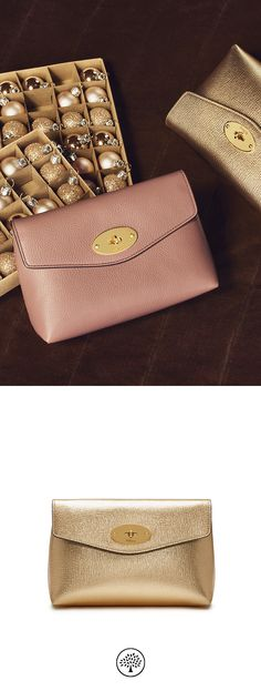 Shop the Darley Cosmetic Pouch in Gold Metallic Printed Goat Leather at  Mulberry.com. 444a8c2d03ede