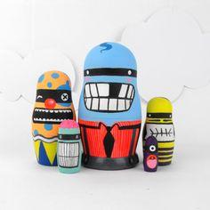 Nesting Dolls Matryoshka Babushka ' Little Monsters ' by SketchInc, £55.00