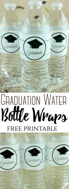 Graduation Water Bottle Wraps (Free printable label) Graduation Water B Graduation Diy, Graduation Decorations, Kindergarten Graduation, Printable Water Bottle Labels, Free Printables, Wraps, Budget, Party Ideas, Brunch Party