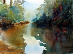 Glenbrook Creek reflections in water watercolor painting