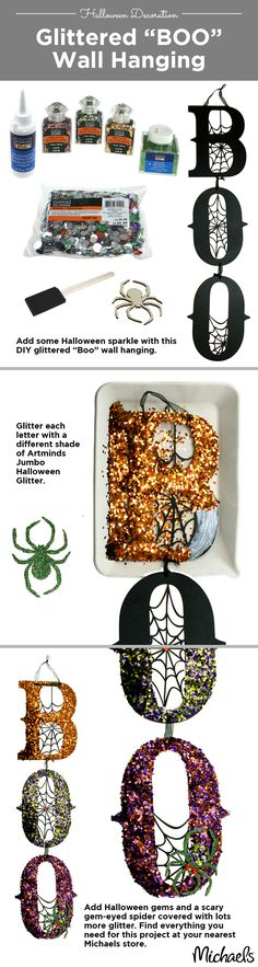 Add sparkle to your Halloween decor with glitter. Boo sign available at your Michaels Store