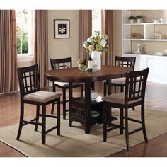 Lavon Transitional Beige/Espresso 5 Piece Counter Height Dining Set