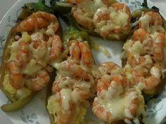 Chiles Rellenos con Camarón Gratinado (Shrimp and Chile Rellenos Gratin)
