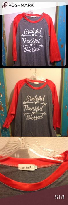 d5431158a479 NWOT Grateful Thankful Blessed Baseball Tee NWOT Adorable bright coral-y red  colored
