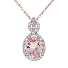 """Morganite and 1/6 Carat T.W. Diamond 10k Rose Gold Pendant Necklace, Women's, Size: 17"""", Pink"""