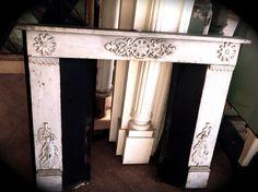 White antique mantel with exquisite detail. For sale now! Mantles, Fireplace Mantels, White Mantel, Antique Mantel, Entryway Tables, Doll, Detail, Architecture, Antiques