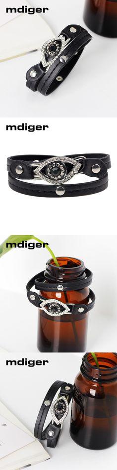 Mdiger Brand Fashion Black Eye Shape Jewelry PU Leather Bracelet Men Bracelets for Women Best Friend Bracelets & Bangles