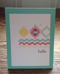 hand stamped card: Mosaic Madness by Karen Gilman  .... clean and simple ... grouping of stamping elements ... three colors ... three tile stamps ... three chevron stripes ... rhinestones, string and a button ... lovely card ... luv the Coastal Cabana color ...Stampin' Up!