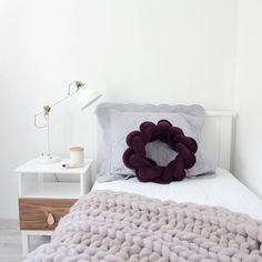 """Peaceful lilac or purple bedroom inspiration. Chunky knit throw in lilac starting at $339.95. Ship internationally 220 Likes, 24 Comments - Merino & Natural Fibres (@closely.knit) on Instagram: """"When lilac is just enough! Styling