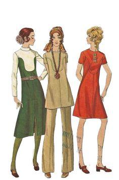 Butterick 5991 1960s mitad A línea vestido de túnica y por mbchills
