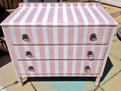 Pink and white stripped chest of drawers original handles painted by Home Revival