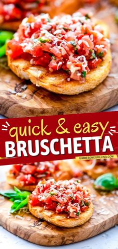 Learn how to make bruschetta for a delicious appetizer recipe or snack idea on your football party! This quick and easy game day food is a mixture of tomatoes, basil, Parmesan cheese, balsamic vinegar, and spices on top of grilled slices of french bread! Quick And Easy Appetizers, Easy Appetizer Recipes, Yummy Appetizers, Appetizers For Party, Snack Recipes, Best Bruschetta Recipe, Homemade Bruschetta, Bruschetta Toppings, Organic Recipes