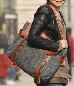 Brown-grey Leather-canvas tote /Leather bag/Canvas bag /Shopping bag/ Stitch bag/Shoulder bag/iPad bag. $77.00, via Etsy.