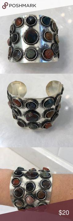 Multi-stone statement cuff Multi-color with silver background Multi-stone  Statement cuff - adjustable sizing Jewelry Bracelets