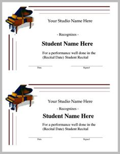 Recital Award, Half Page. Provide positive reinforcement, praise and congratulations to your students who perform in recitals. PianoDiscoveries Awards. Free members get 5 FREE downloads per month. Subscribed members get unlimited downloads! www.pianodiscoveries.com