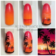 Palm, design on vacation - Nails Ideas & Nails Diy Nail Art Palmier, Sunset Nails, Sea Nails, Gelish Nails, Vacation Nails, Nagel Gel, Nail Decorations, Nail Tutorials, Trendy Nails