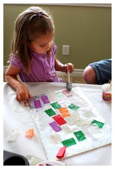 today's craft: tinfoil art (idea found here) what you need: *  piece of cardboard *  tinfoil (enough to cover cardboard) *  sponge brush *  tissue paper *  glue *  sequins and glitter step one: wrap foil around cardboard. step two: cut or tear several pieces of tissue paper. step three: water down your glue a little …