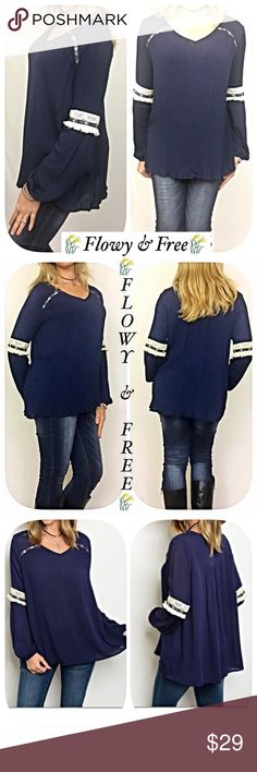 """Flowy & Free Peasant Tunic Top Fringe Aztec SML Flowy & Free Boho peasant tunic top with Aztec embroidery & crochet lace/fringe sleeve detail LOVE❤️️ 100% rayon in navy blue with h ivory/gray/maroon accents. Super duper adorable with your favorite jeans   Small Bust 42"""" Length 26"""" Medium Bust 43"""" Length 26.5"""" Large Bust 44"""" Length 27"""" Tops"""