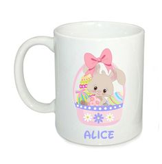 Personalised Easter mugs, kids cute bunny mug, 6oz mugs, Easter gifts, kids cup by cjcprint on Etsy