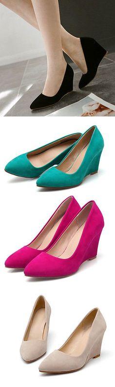 0e0e35135b68   34.99  Women s Shoes Wedge Heel Wedges Pointed Toe Pumps Heels Office    Career Dress Black Green Red Beige