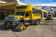 Caterpillar Tour Vehicles by Yellowstone Park