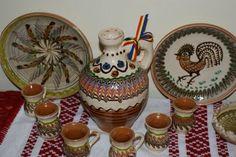 Set ceramic cadou pentru tuica de la Horezu