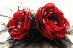 Vintage black and red flower clip www.etsy.com/listing/119003469/hair-clip-vintage-inspired-headpiece?ref=shop_home_active_search_query=red