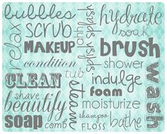 Free bathroom word art to download!