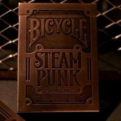 Bicycle Steam Punk Playing Cards by Bicycle. $2.95. At the edge of industry, therein lies Steampunk.  Ripped from the pages of science fiction, the gears are turning, the steam is pumping, and the playing cards were finally born. It wasn't easy. The paper used on these tuck cases did NOT exist.  We made the bronze paper from scratch in order to perfectly print the ink that covers its surface in 19th century Victorian machinery.  The boldly stamped, debossed ele...