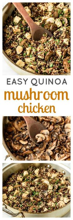 Easy and healthy Mushroom Chicken Skillet with Quinoa and Parmesan - Juicy chicken with garlicky mushrooms and cheese. A fast meal for those busy weeknights! Protein packed, gluten free, and your family will love it.