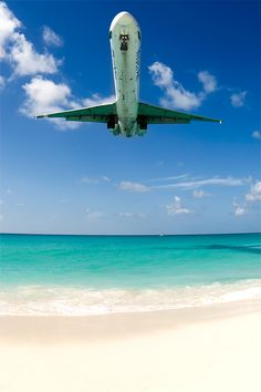 Flying over Saint Martin, Caribbean
