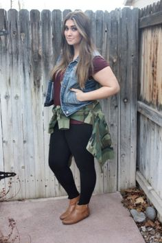 90's vibe outfit with camo hoodie and denim vest