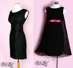 1960's Jacques Heim Little Black Dress; 1960's Black Chiffon Pink Bow Dress