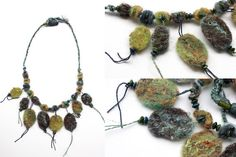 Blue green needle felted crochet necklace with от rRradionica