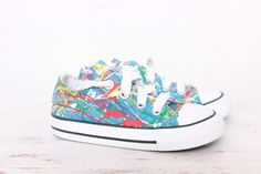 705500c5df64 Used Toddler Blue Low Top Splatter Painted Converse Sneakers Toddler Size  6