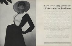 """""""James Galanos, one of the most avant-garde designers, is equally good at pure flattery—as here: navy blue worsted that looks like a charming suit, is actually a charming dress, with a white linen dickey across the front."""""""